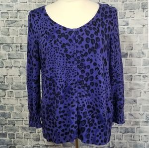 Dana Buchman Soft Leopard Print Cardigan Sweater